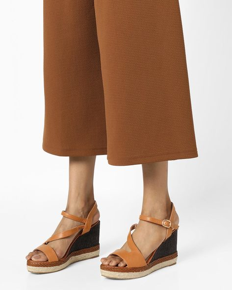 Ankle-Strap Wedges With Braided Midsole By AJIO ( Tan )