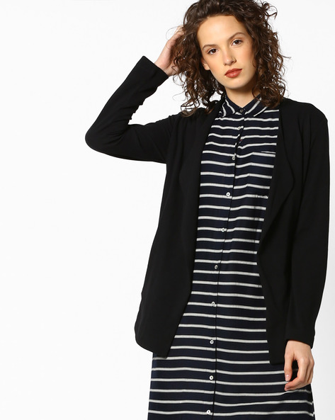 Cotton Shrug With Notched Lapel By Project Eve WW Casual ( Black )