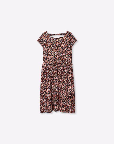V-neck Floral Print Dress By RIO GIRLS ( Black )