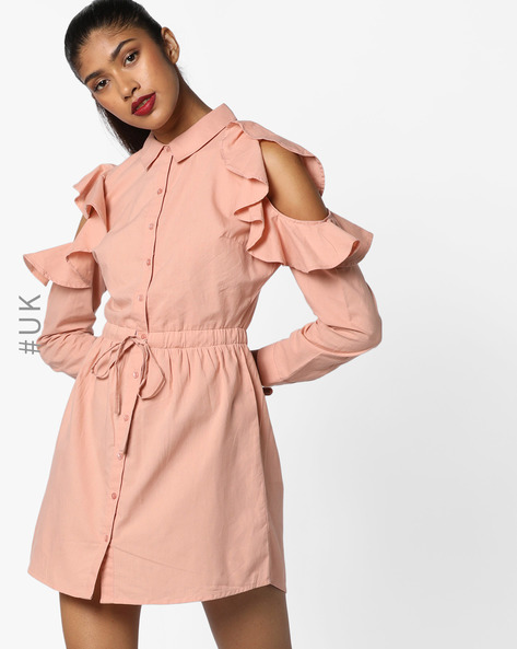 Shirt Dress With Cold Shoulders By INFLUENCE ( Blush )