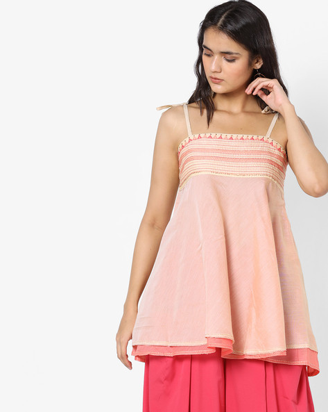 Layered Tunic With Tie-Up Sleeves By AJIO ( Ivory )