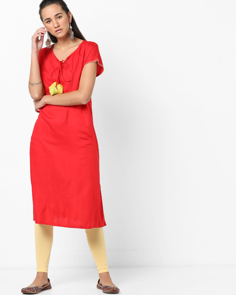 Straight Kurta With Tassel Tie-Up By AJIO ( Red )