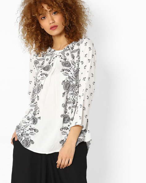 Printed High-Low Top By Global Desi ( White )
