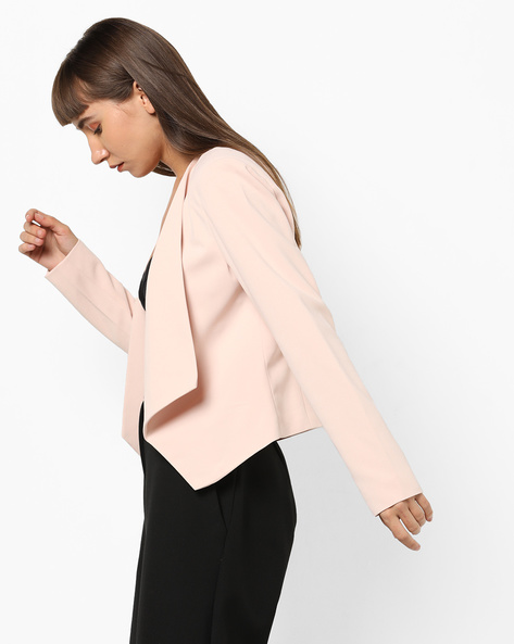 Front-Open Blazer With Asymmetric Hem By Only ( Cream )
