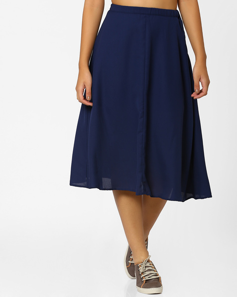 Flared Midi Skirt By CHM ( Purple )