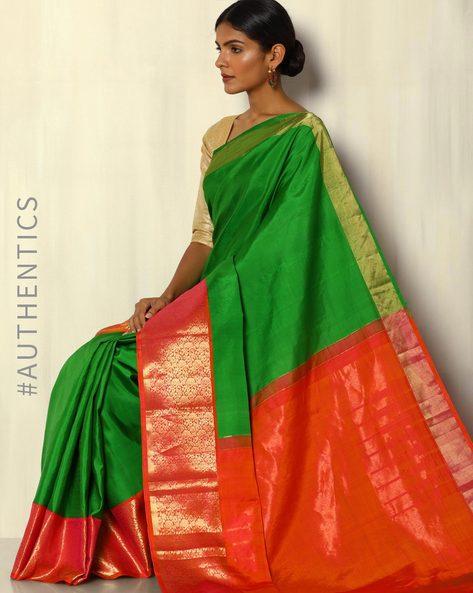 Handloom Kanchipuram Silk Saree With Tested Zari By Pretty Woman ( Green )