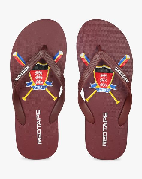 Printed Thong-Strap Flip-Flops By RED TAPE ( Maroon )