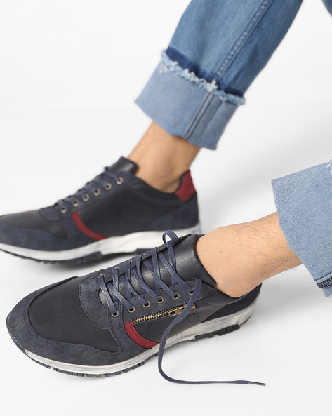 Panelled Lace-Up Sneakers With Side Zipper By AJIO ( Navy )