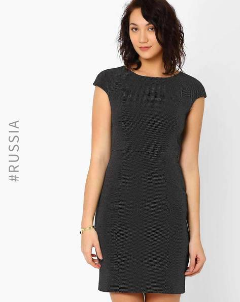 Printed Tailored Dress With Cap Sleeves By Kira Plastinina ( Black )