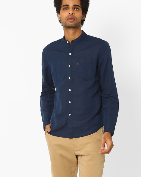 Cotton Shirt With Mandarin Collar By LEVIS ( Blue )
