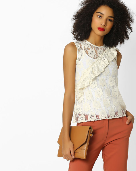 Floral Lace Top With Ruffles By Rena Love ( Offwhite )