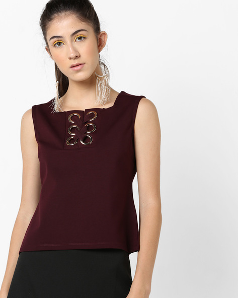 Sleeveless Top With Criss-Cross Tie-Up By AJIO ( Burgundy )