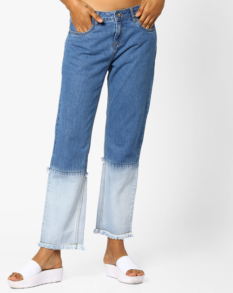 Panelled Jeans With Frayed Hems By AJIO ( Lightblue )