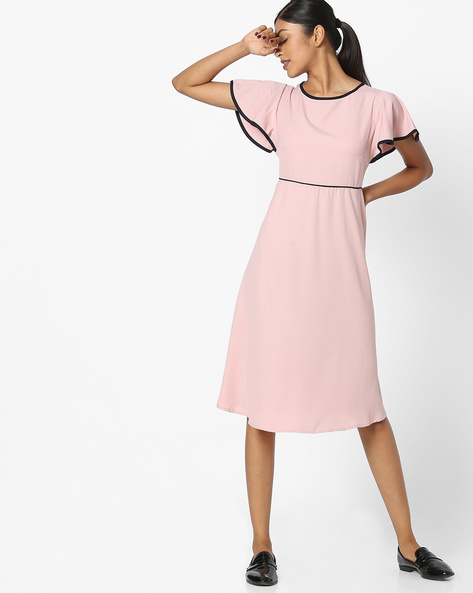 A-line Dress With Ruffled Sleeves By FIG ( Pink )