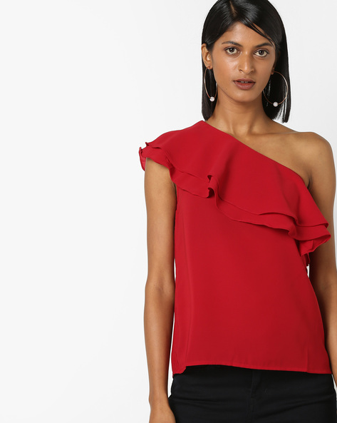 One Shoulder Top With Ruffled Panel By 20Dresses ( Maroon )