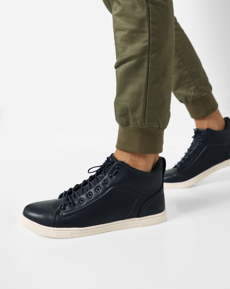 Mid-Top Sneakers With Lace-Up By AJIO ( Navy )