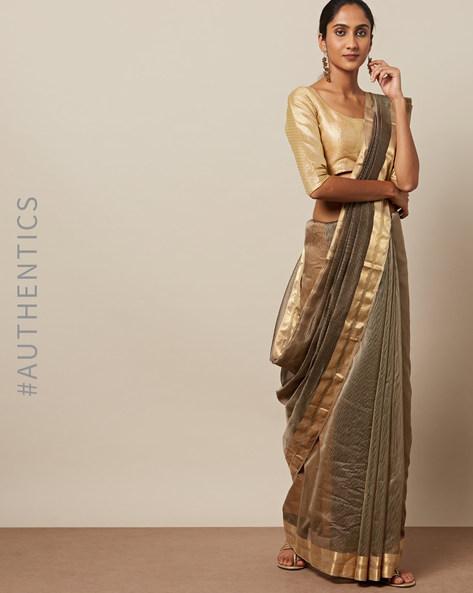 Handloom Tana Maheshwari Pure Silk Cotton Saree By Indie Picks ( Brown ) - 460235761001