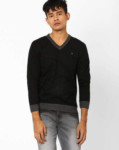 Diamond Lattice Pattern Knit Pullover By DUKE ( Black )