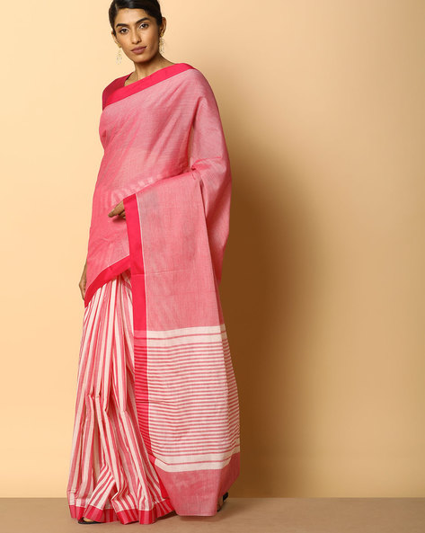 Kanchi Cotton Striped Saree With Woven Border By Indie Picks ( Pink )