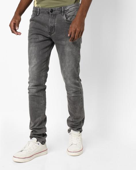 Acid-Wash Skinny Jeans By DNMX ( Medgrey )