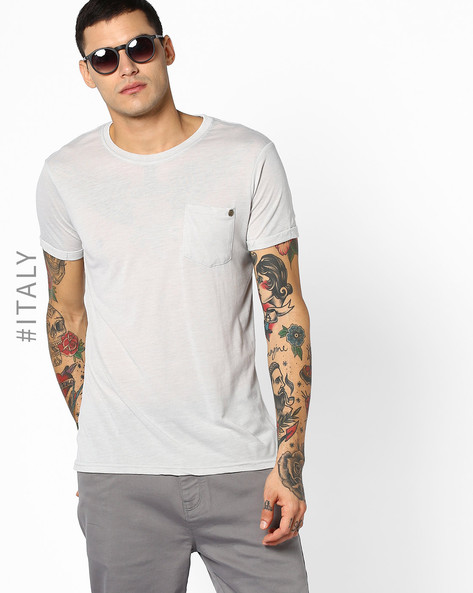 Crew-Neck T-shirt With Patch Pocket By ALCOTT ( Pearl )