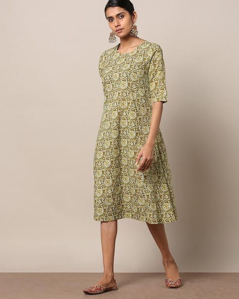 Printed Cotton Princess A-line Dress By Seasons ( Green )
