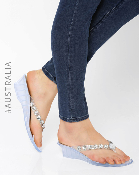 Embellished Jelly Marvel Wedge Sandals By Holster ( Clear )