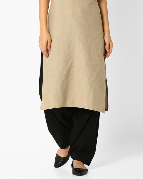 Patiala Pants With Drawstring Fastening By Stylenmart ( Black )