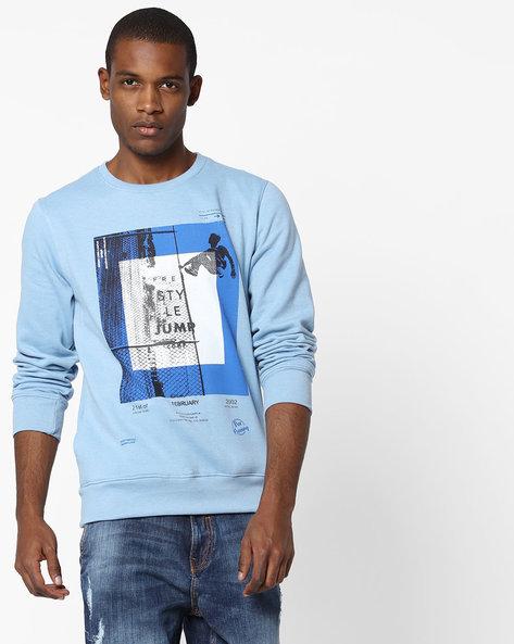Graphic Print Crew-Neck Sweatshirt By Fort Collins ( Ltblue )