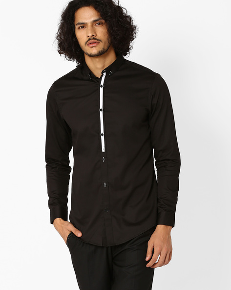 Slim Fit Shirt With Pluccket Detail By MR.BUTTON ( Black )