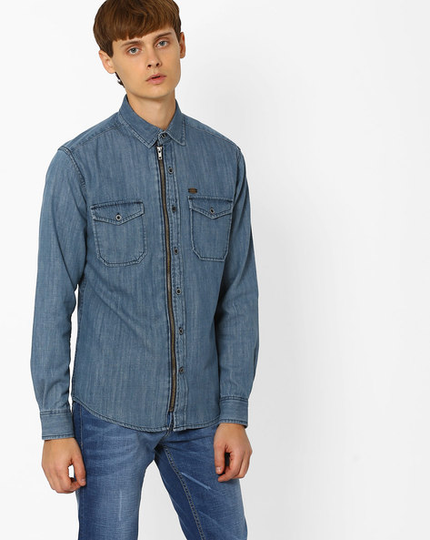Slim Fit Shirt With Zip Closure By DNMX ( Blue )