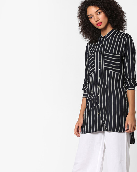 Striped High-Low Shirt By Project Eve WW Casual ( Black )