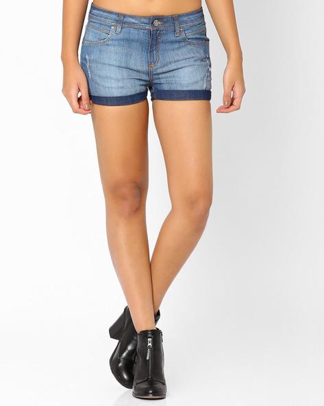 Distressed Denim Shorts By AJIO ( Blue )