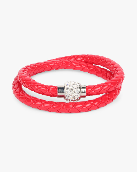 Braided Bracelet With Stone Embellishments By ALPHA MAN ( Red )