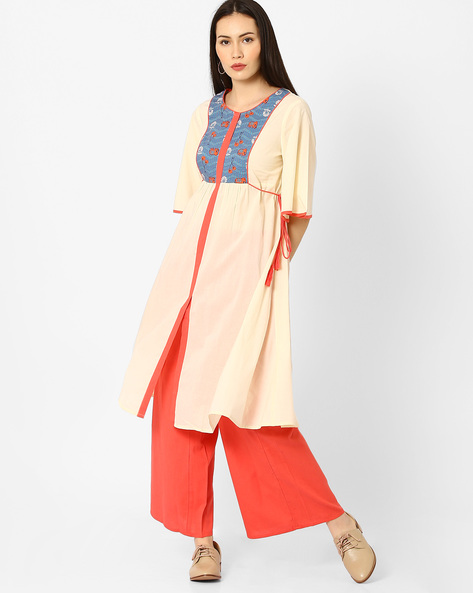 Flared Kurta With Contrast Yoke By AJIO ( Offwhite )