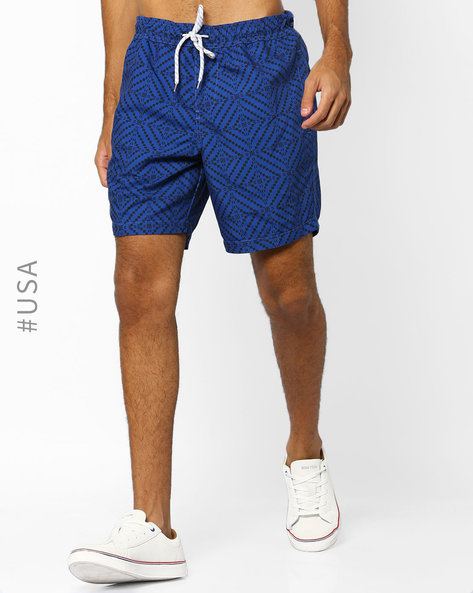 Geometric Shorts With Drawstring Waist By Aeropostale ( Blue )