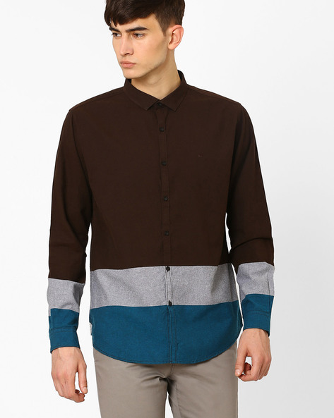 Slim Fit Shirt With Contrast Panels By BASICS ( Brown )