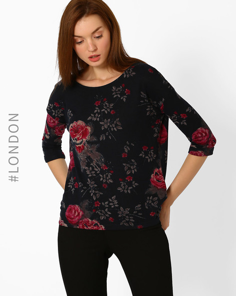 Floral Print Top By Marks & Spencer ( Navyblue )