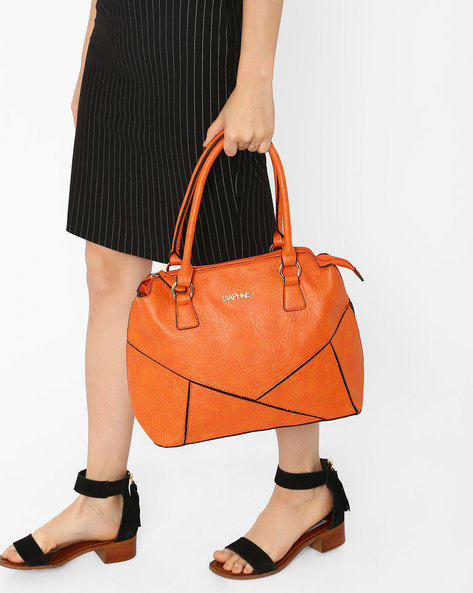 Panelled Shoulder Bag By Daphne ( Orange )