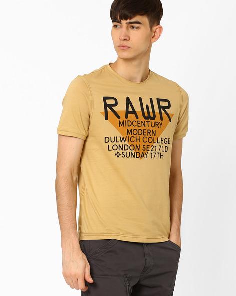 Industrial Print Crew-Neck T-shirt By AJIO ( Yellow )