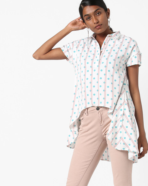 Polka-Dot Print Shirt Tunic With Handkerchief Hem By AJIO ( Offwhite )