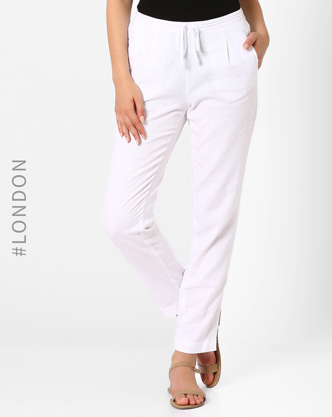 Linen Tapered Fit Trousers By Marks & Spencer ( White )