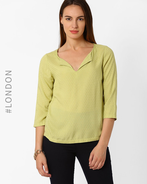 Top With Three-Quarter Sleeves By Marks & Spencer ( Olive )