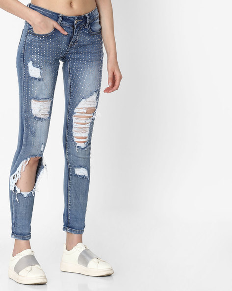 Lightly Washed Distressed Jeans By Deal Jeans ( Blue )