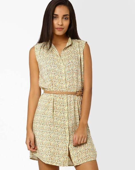 Shirt Dress With Belt By CHM ( Ltgreen )