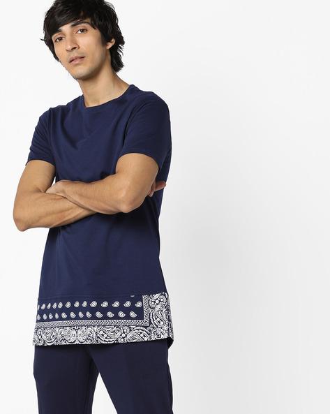 Printed Cut & Sew Longline T-shirt By AJIO ( Blue )