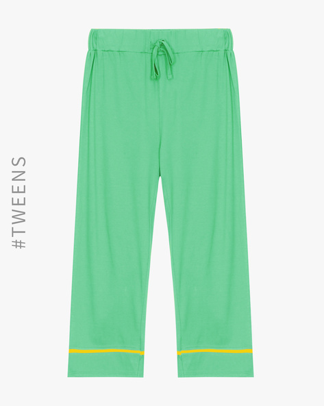 Cotton Lounge Track Pants By AJIO Girl ( Green )