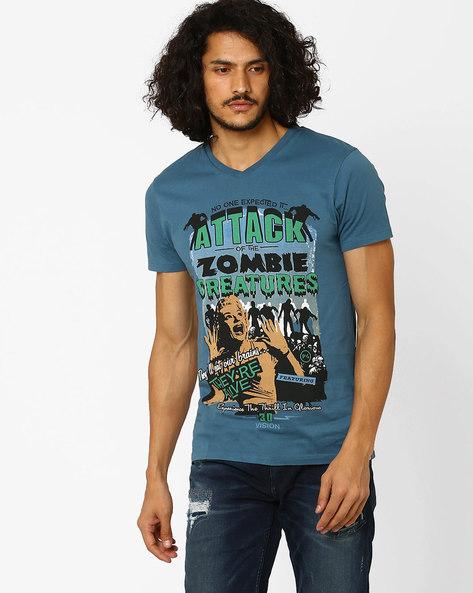 Printed Slim Fit T-shirt By Jack & Jones ( Blue )