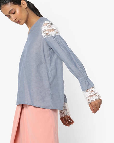 Top With Lace Detail By AJIO ( Blue )