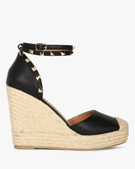 Wedges With Embellishments & Ankle Strap By Truffle Collection ( Black )